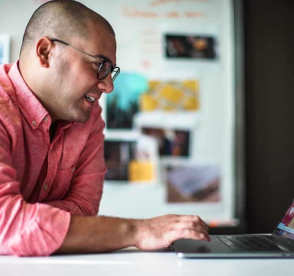 Ben on his laptop