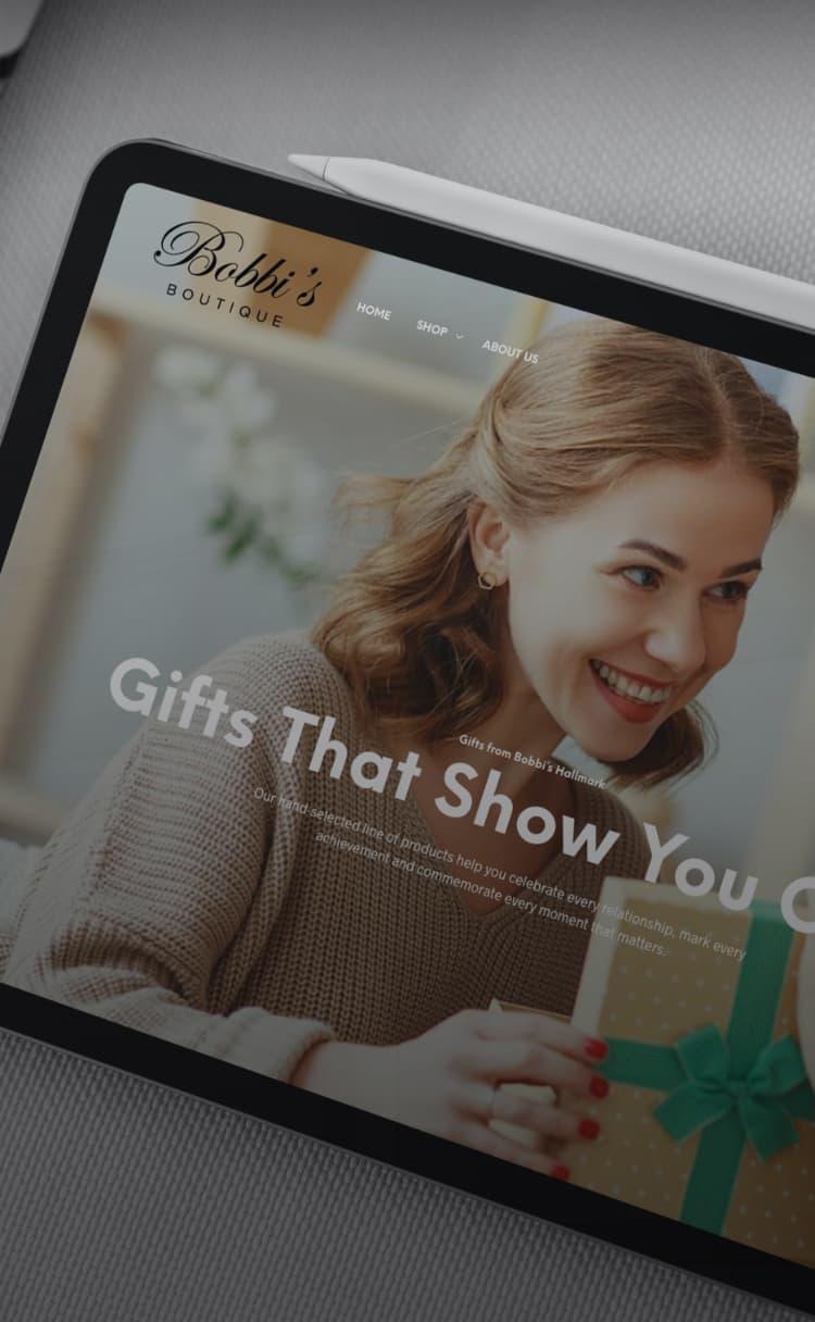 Bobbi's Hallmark website on a tablet