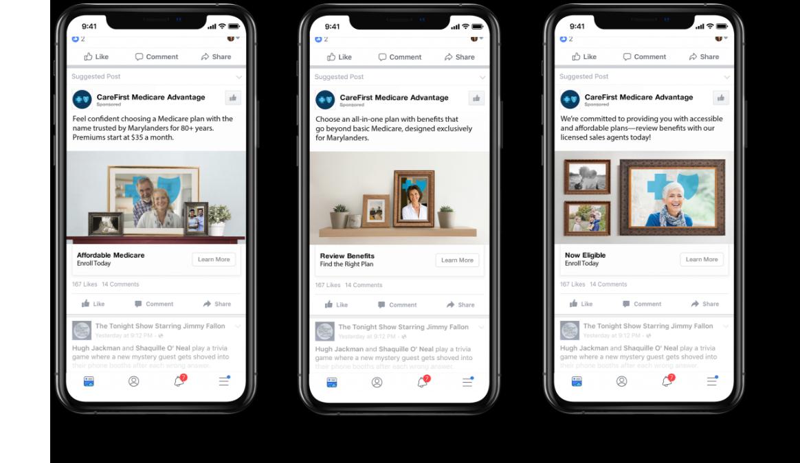 Social ads on 3 phones