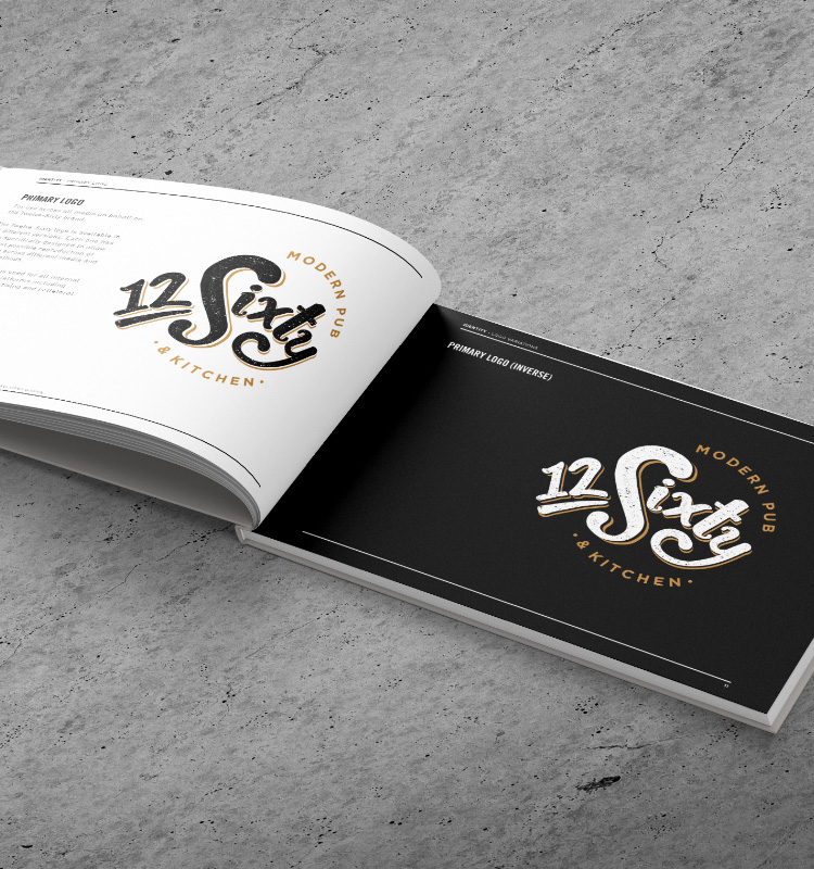 Book showing 12Sixty logo design