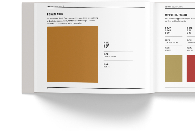 Brand guidelines book showing colors