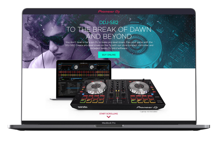 Pioneer DJ landing page on laptop