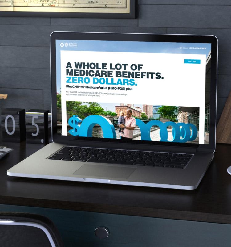 BCBSRI landing page on laptop